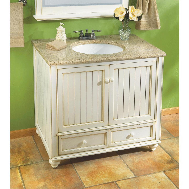 Sunny Wood Bristol Beach White 36 In. W x 34 In. H x 21 In. D Vanity Base, 2 Door/2 Drawer Image 4