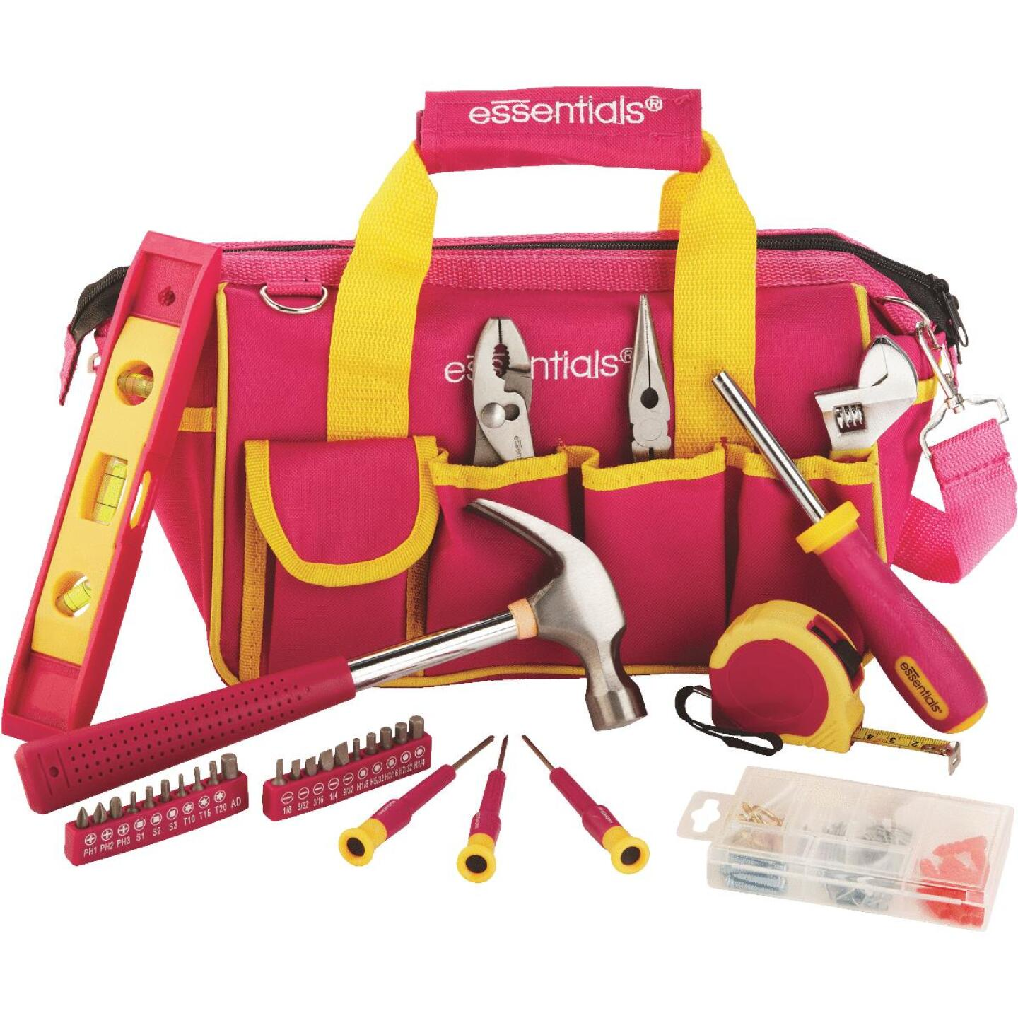 Essentials Around-the-House Homeowner's Tool Set with Pink Tool Bag (32-Piece) Image 1