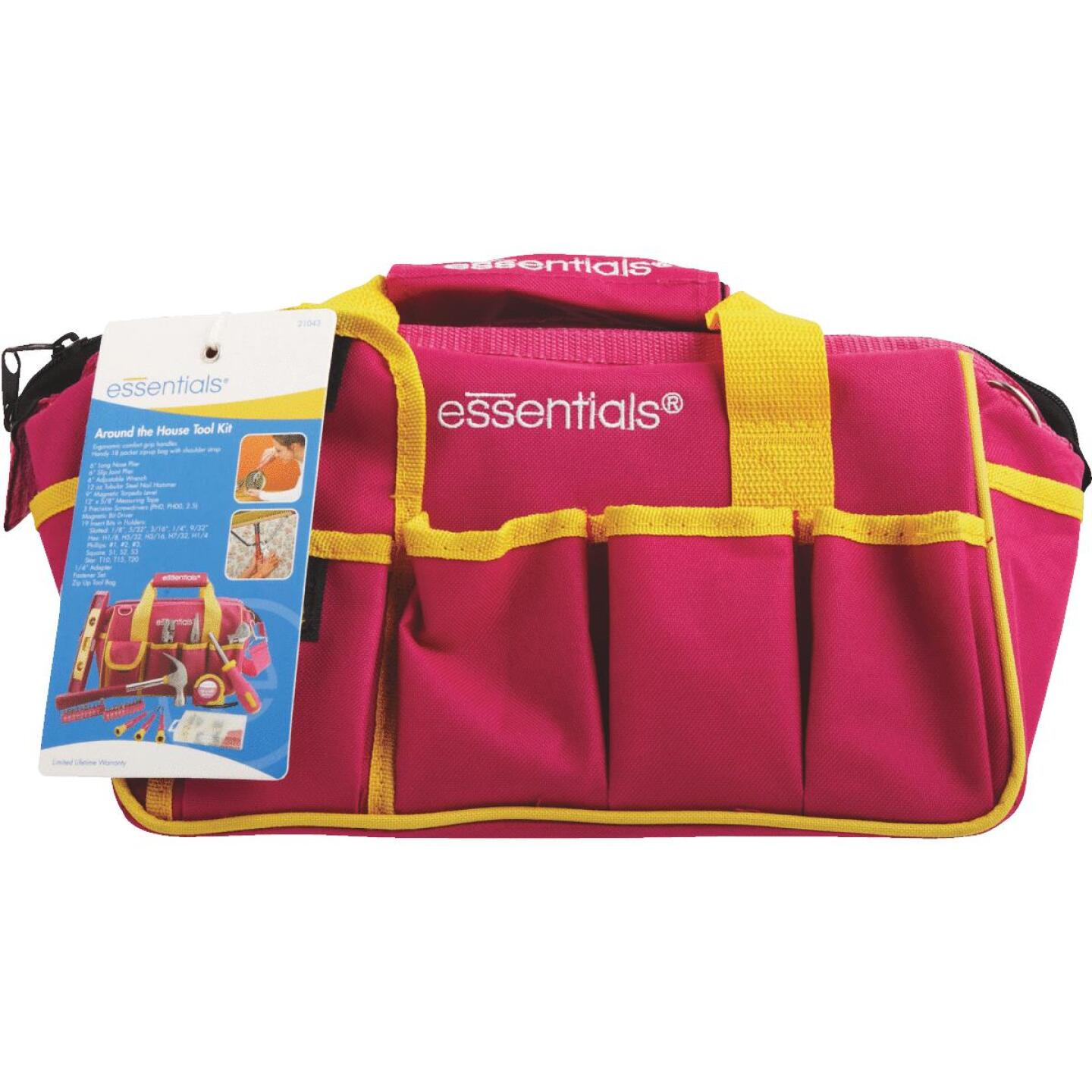 Essentials Around-the-House Homeowner's Tool Set with Pink Tool Bag (32-Piece) Image 3