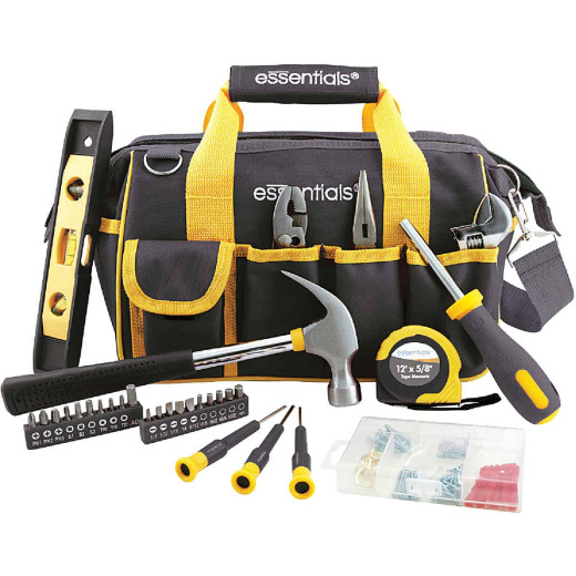 Essentials Around-the-House Homeowner's Tool Set with Black Tool Bag (32-Piece)