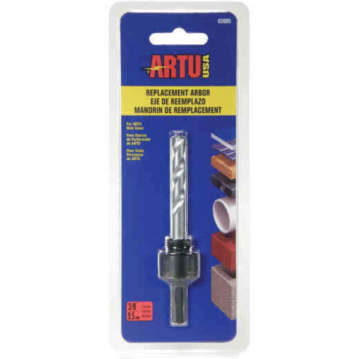 ARTU 3/8 In. Hex Shank Arbor Tungsten Carbide Hole Saw Mandrel Fits Hole Saws 1 In. to 4 In.