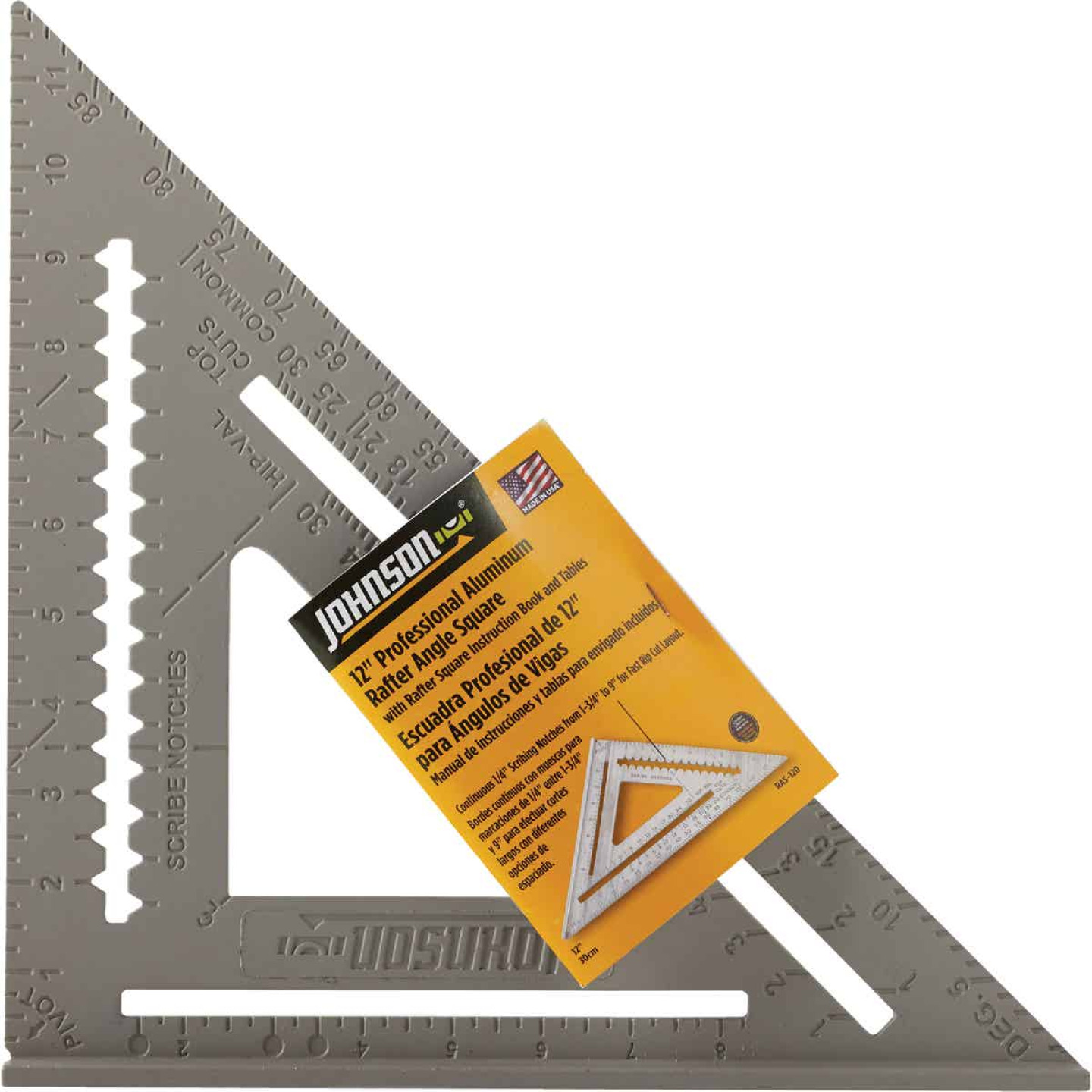 Johnson Level 12 In. Aluminum Rafter Square with Instruction Manual & Rafter Tables Image 2