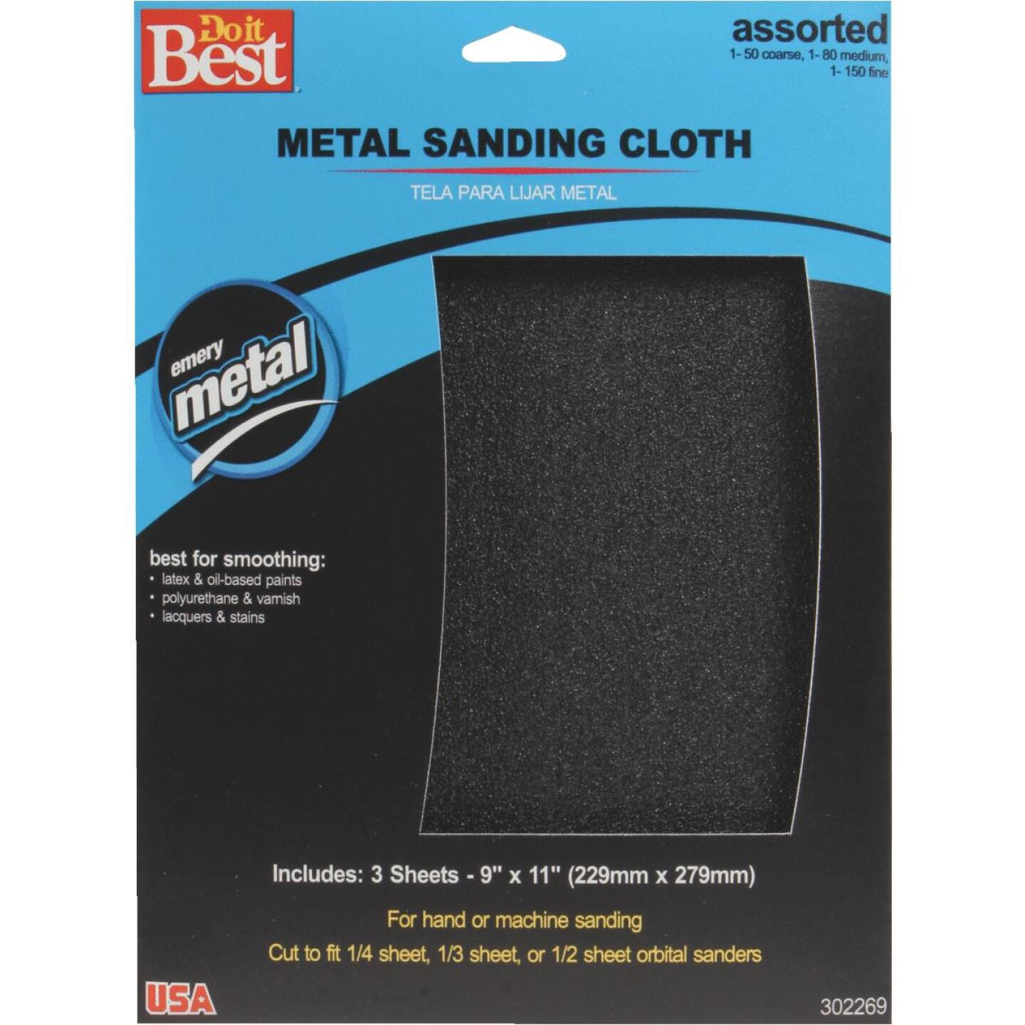 Do it Best 9 In. W. x 11 In. L. Assorted Grit Emery Cloth (3-pack) Image 1