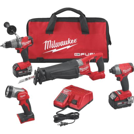 Milwaukee 4-Tool M18 FUEL Lithium-Ion Brushless Hammer Drill, Reciprocating Saw, Impact Driver & Work Light Cordless Tool Combo Kit