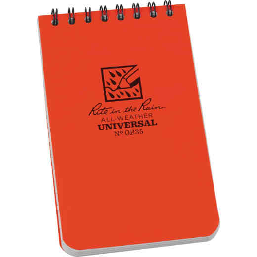 Rite in the Rain All-Weather 3 In. W x 5 In. H 50-Sheet Top-Spiral Bound Notebook, Orange
