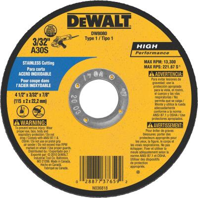 DeWalt HP Type 1, 4-1/2 In. Cut-Off Wheel