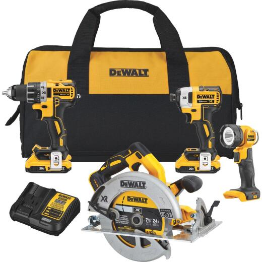 DeWalt 4-Tool 20V MAX XR Lithium-Ion Brushless Compact Drill/Driver, Impact Driver, Circular Saw & Work Light Cordless Tool Combo Kit
