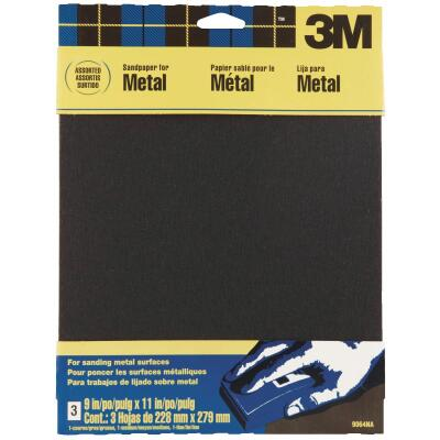 3M 9 In. W. x 11 In. L. Assorted Grit Emery Cloth (3-pack)