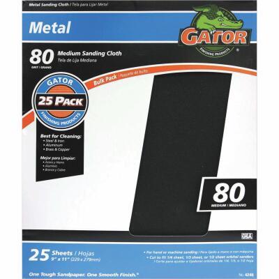 Gator 9 In. W. x 11 In. L. 80 Grit Emery Cloth (25-pack)
