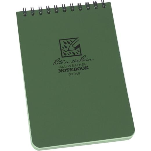 Rite in the Rain All-Weather 4 In. W x 6 In. H 50-Sheet Top-Spiral Bound Notebook, Green