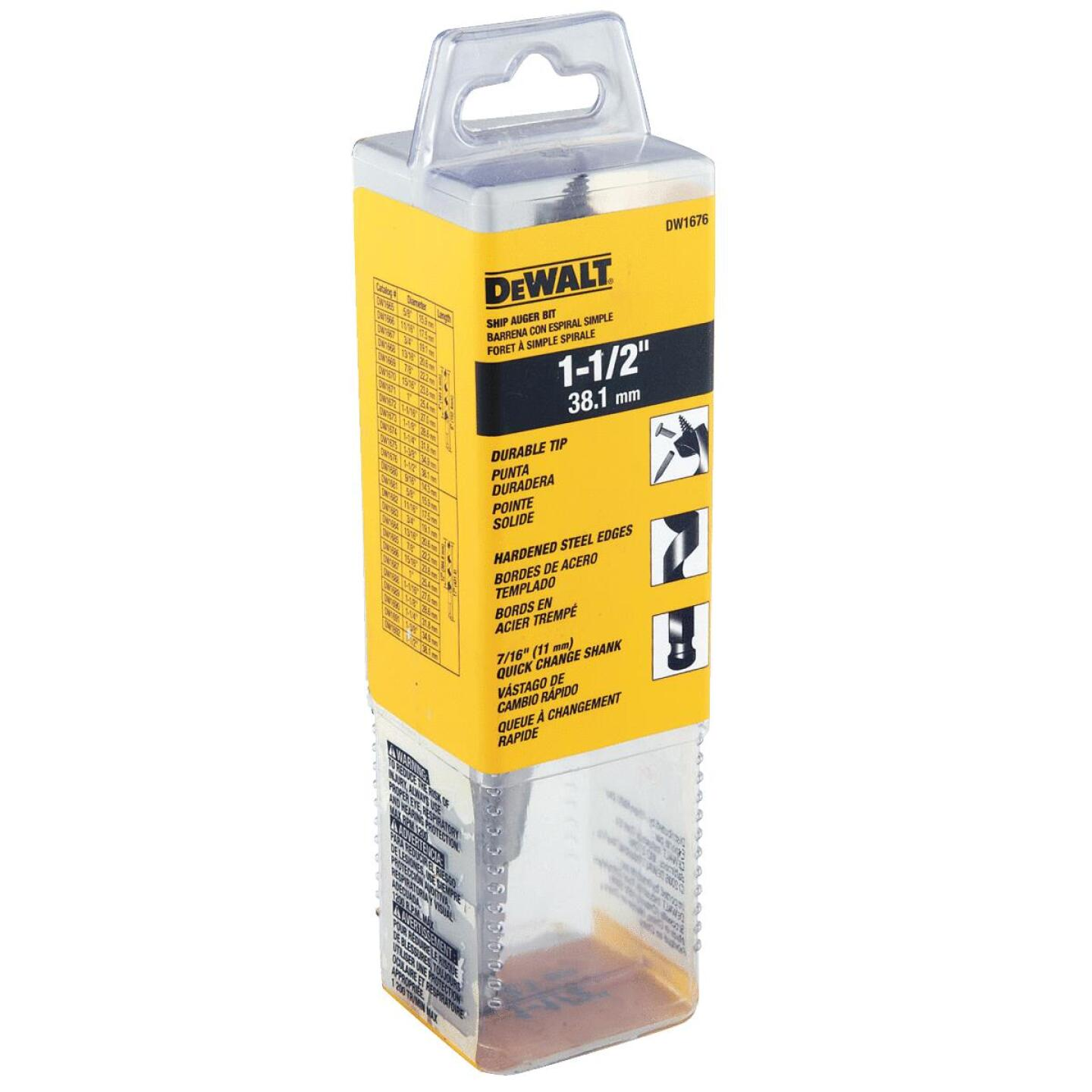 DeWalt Power Ship 1-1/2 In. x 6 In. Quick Change Auger Bit Image 2