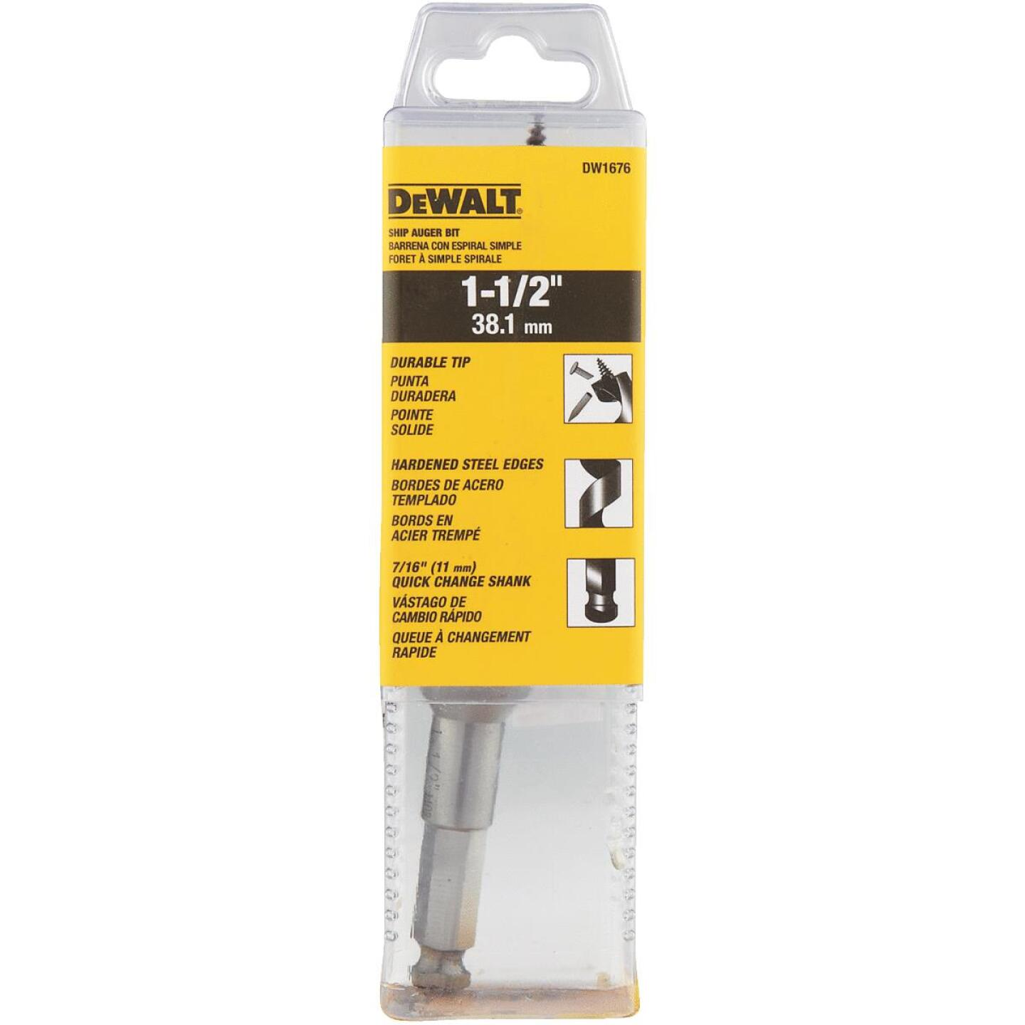 DeWalt Power Ship 1-1/2 In. x 6 In. Quick Change Auger Bit Image 3