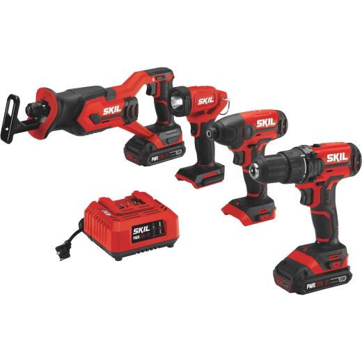 SKIL 4-Tool PWRCore 20 Volt Lithium-Ion Drill/Driver, Impact Driver, Reciprocating Saw & Area Light Cordless Tool Combo