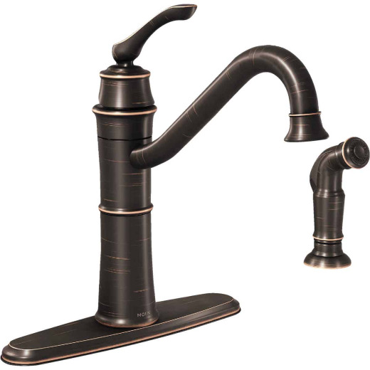 Moen Wetherly Single Handle Lever Kitchen Faucet with Side Spray, Mediterranean Bronze