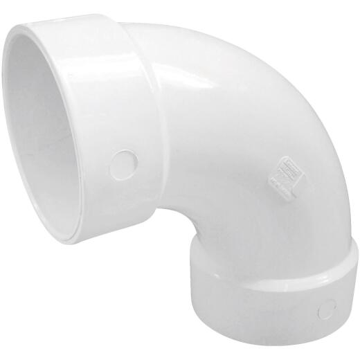 Charlotte Pipe 4 In. 90D PVC Long Sweep Elbow