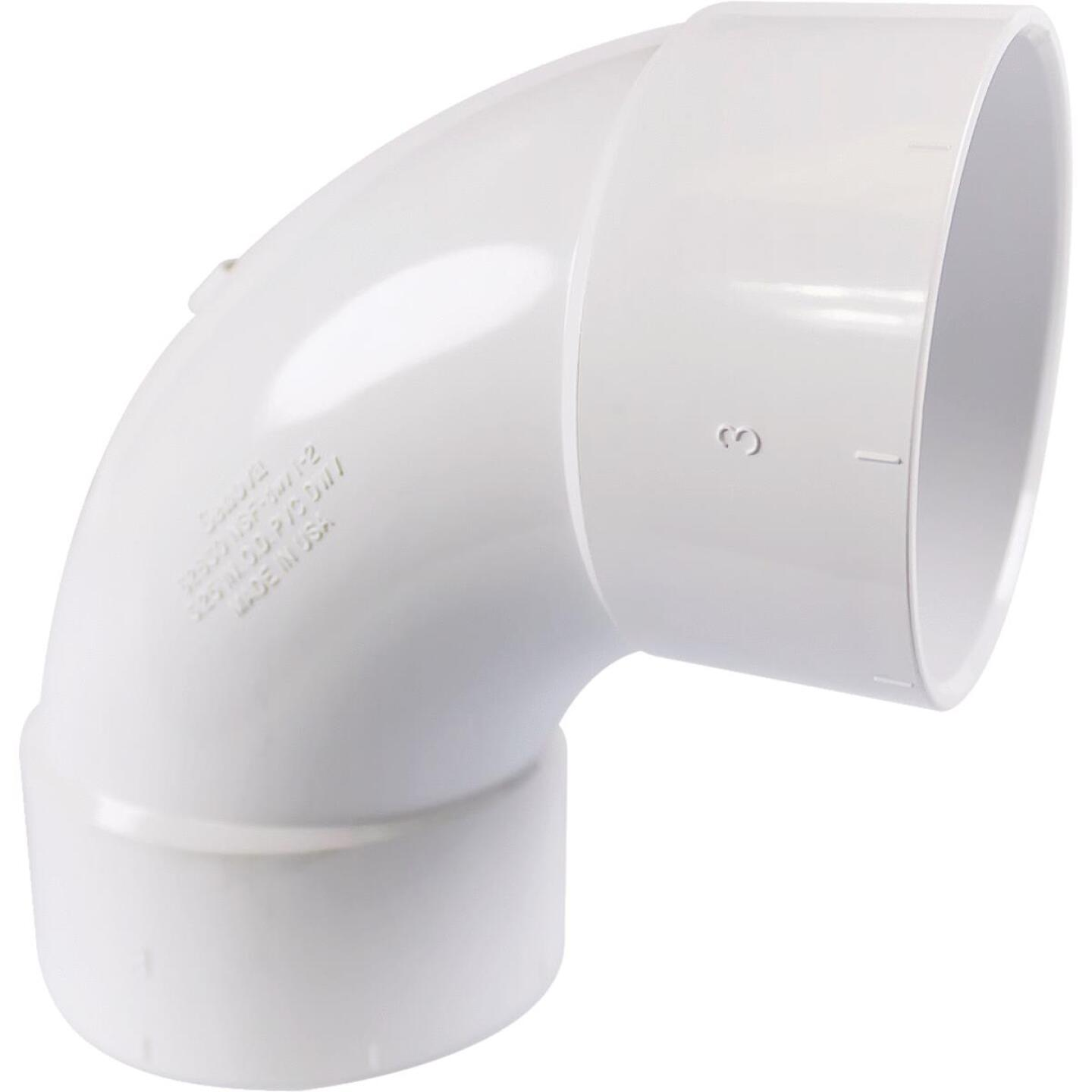 Charlotte Pipe 3 In. 90D Sanitary PVC Elbow Image 1