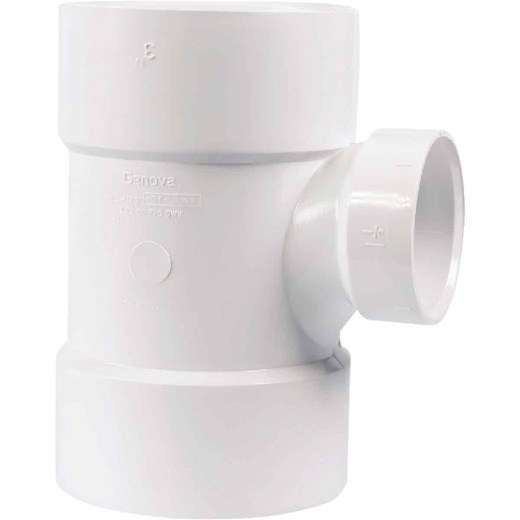 Charlotte Pipe 3 In. Sch 30 x 1-1/2 Sch 40 Reducing Sanitary PVC Tee