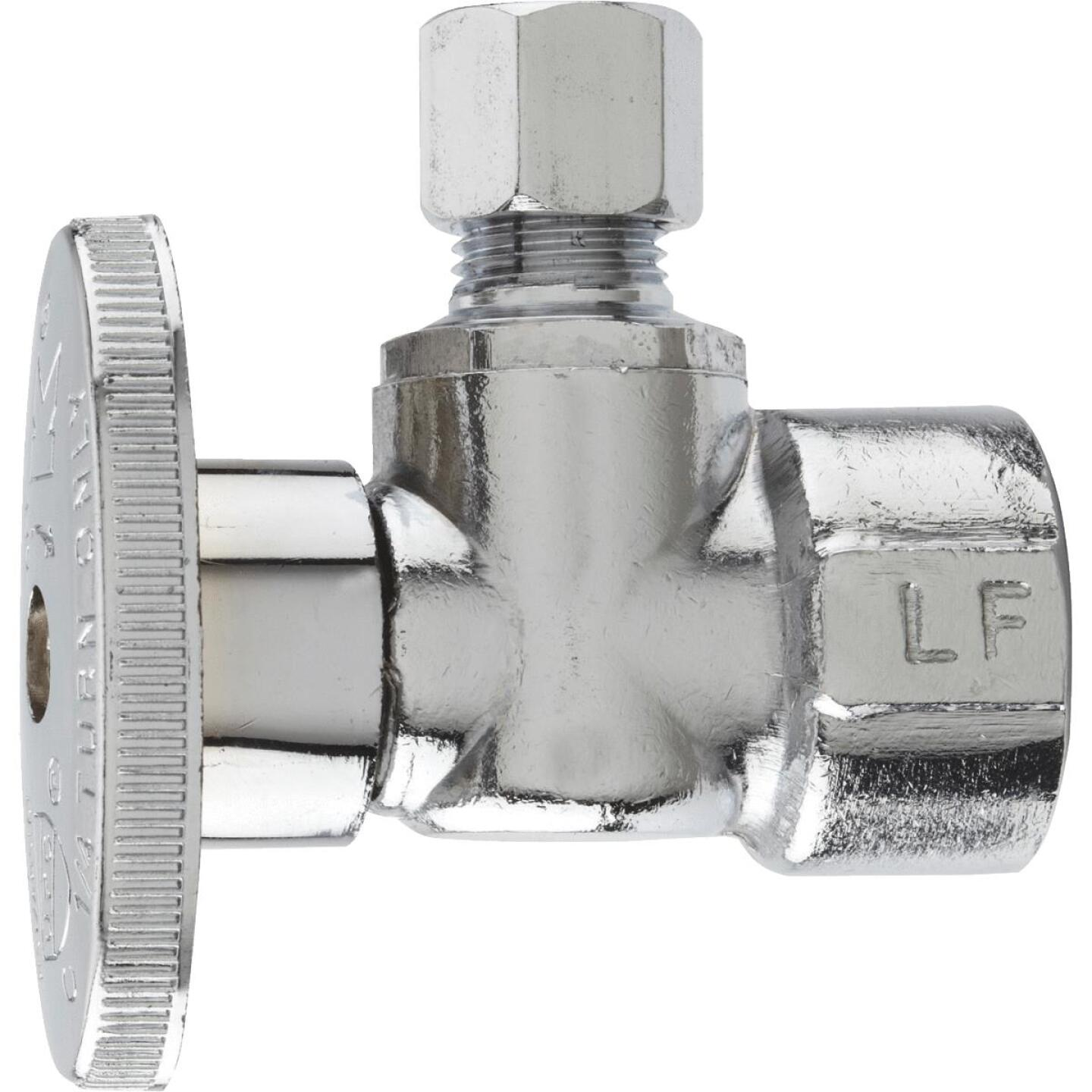 Do it Best 1/2 In. FIP x 1/4 In. OD Chrome-Plated Brass Quarter Turn Angle Valve Image 1