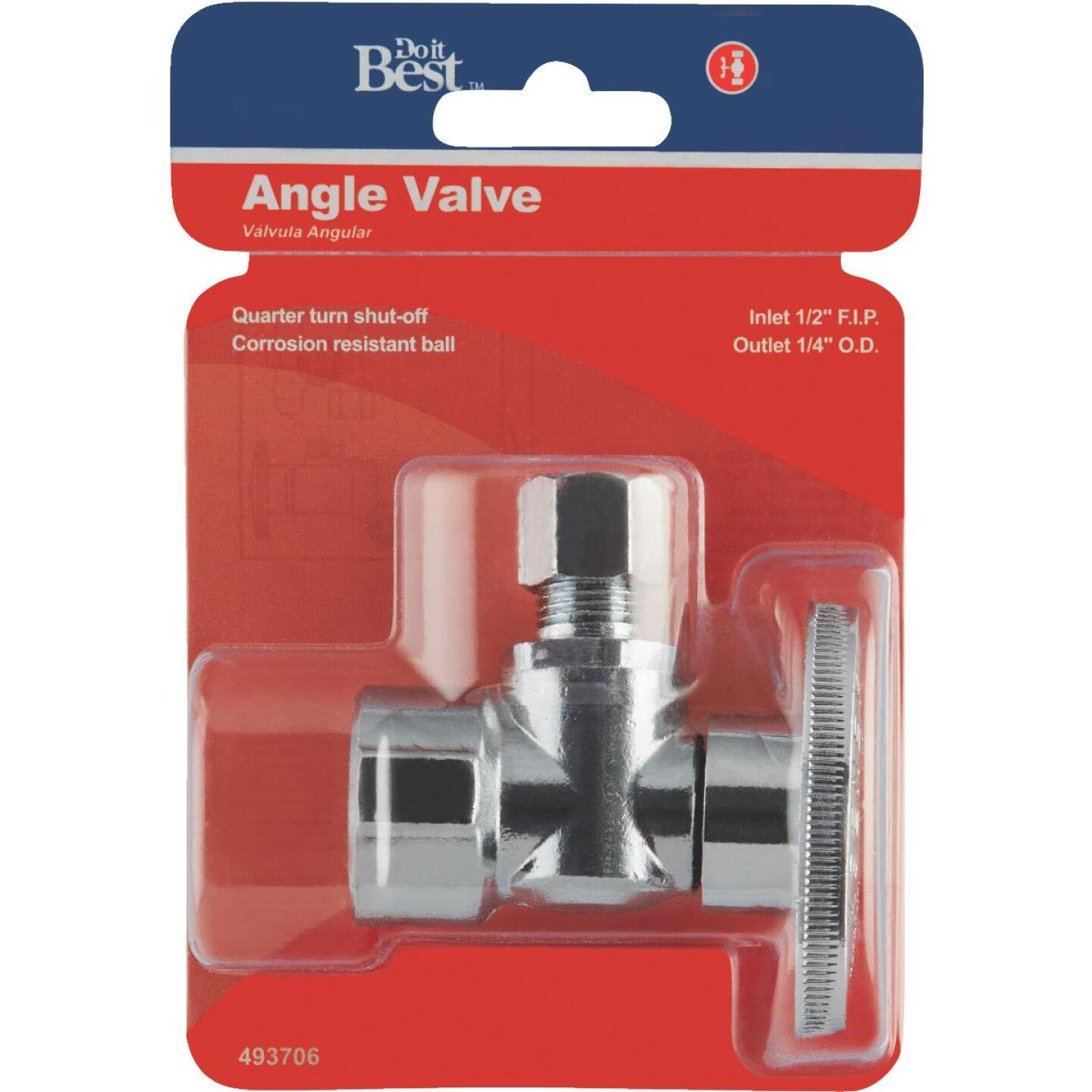 Do it Best 1/2 In. FIP x 1/4 In. OD Chrome-Plated Brass Quarter Turn Angle Valve Image 2