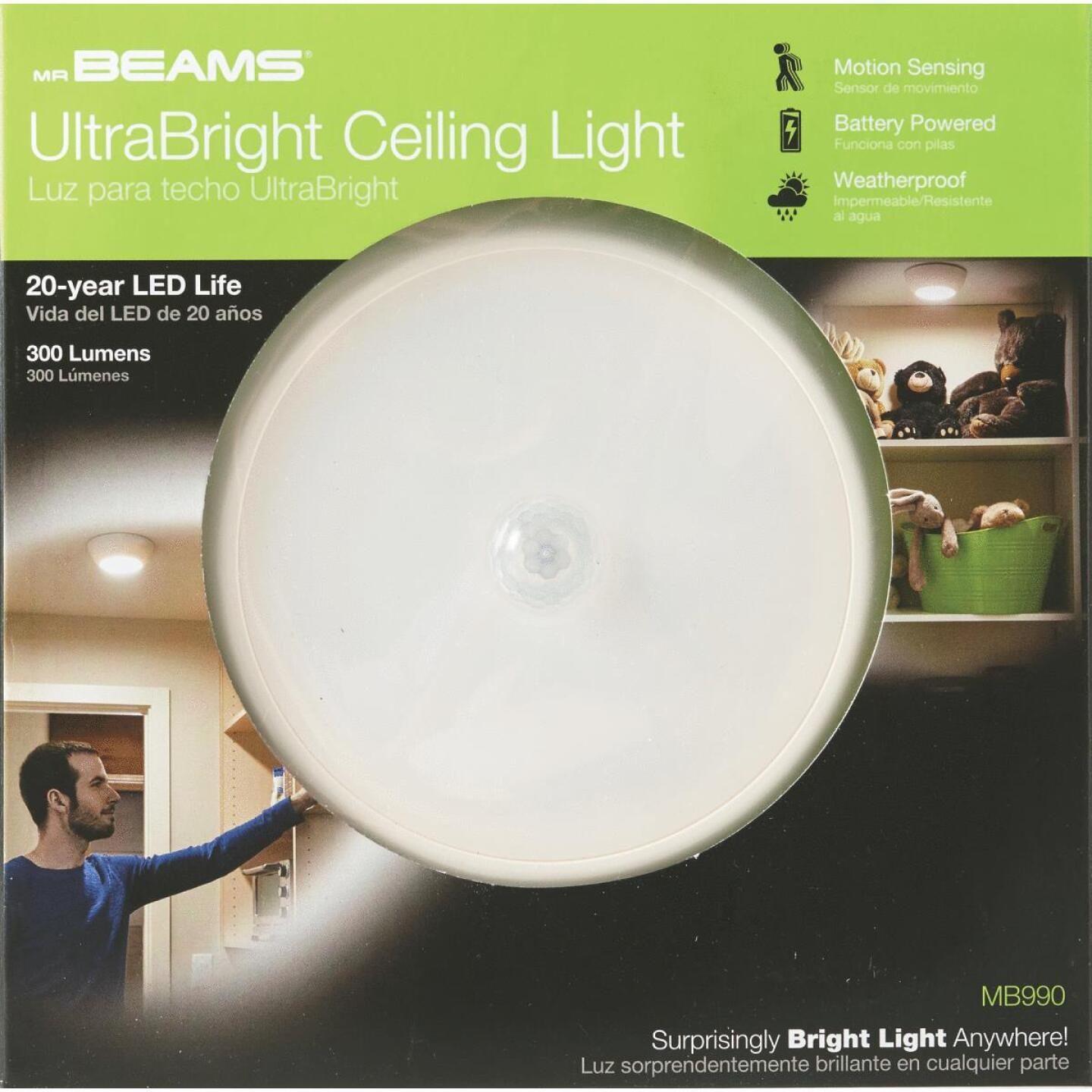 Mr. Beams UltraBright 300-Lumen White Motion Sensing/Dusk-To-Dawn Outdoor Battery Operated LED Ceiling Light Fixture Image 2
