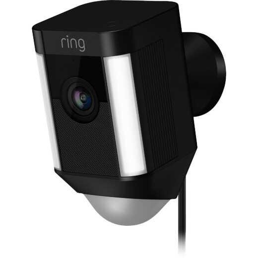 Ring Plug-In Indoor/Outdoor Black Security Camera with Spotlight