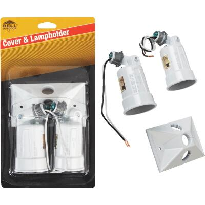 Bell 150W Aluminum Rectangle Double White Weatherproof Outdoor Lampholder with Cover, Carded