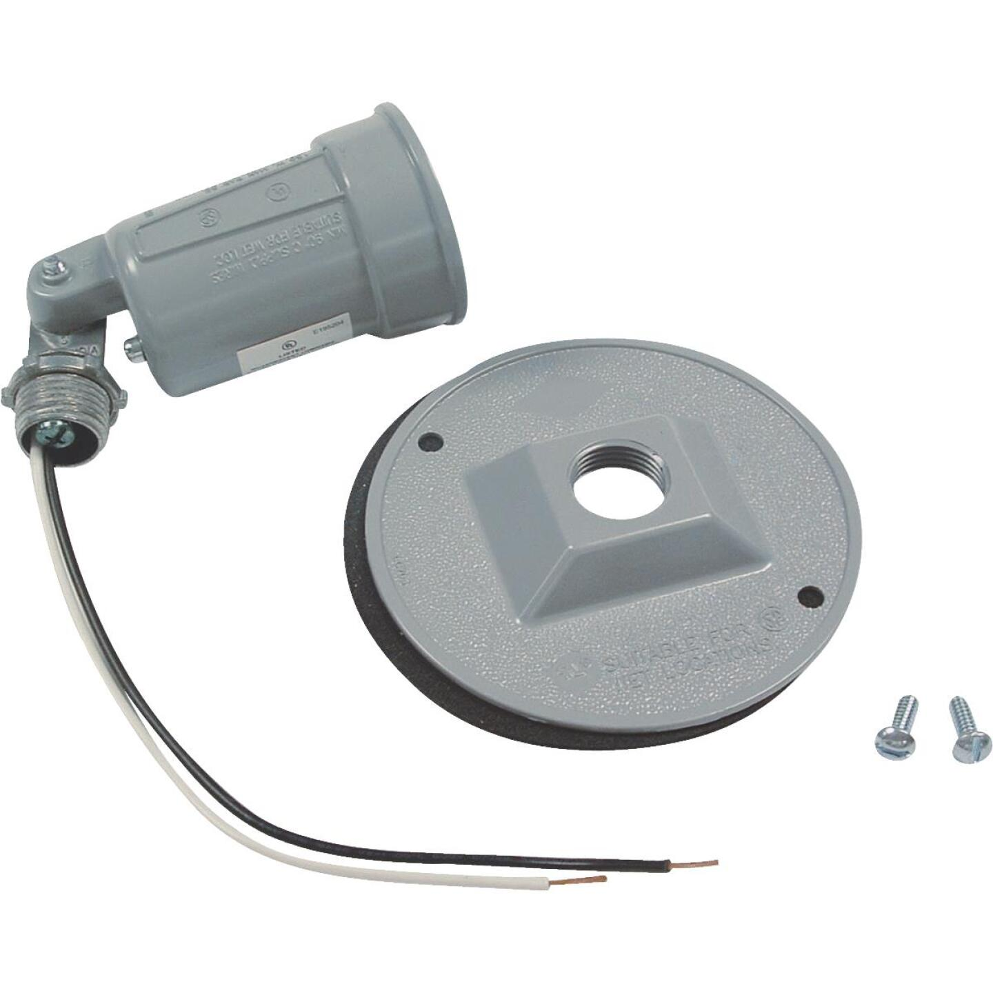 Bell 150W Aluminum Round Single Gray Weatherproof Outdoor Lampholder with Cover, Carded Image 3