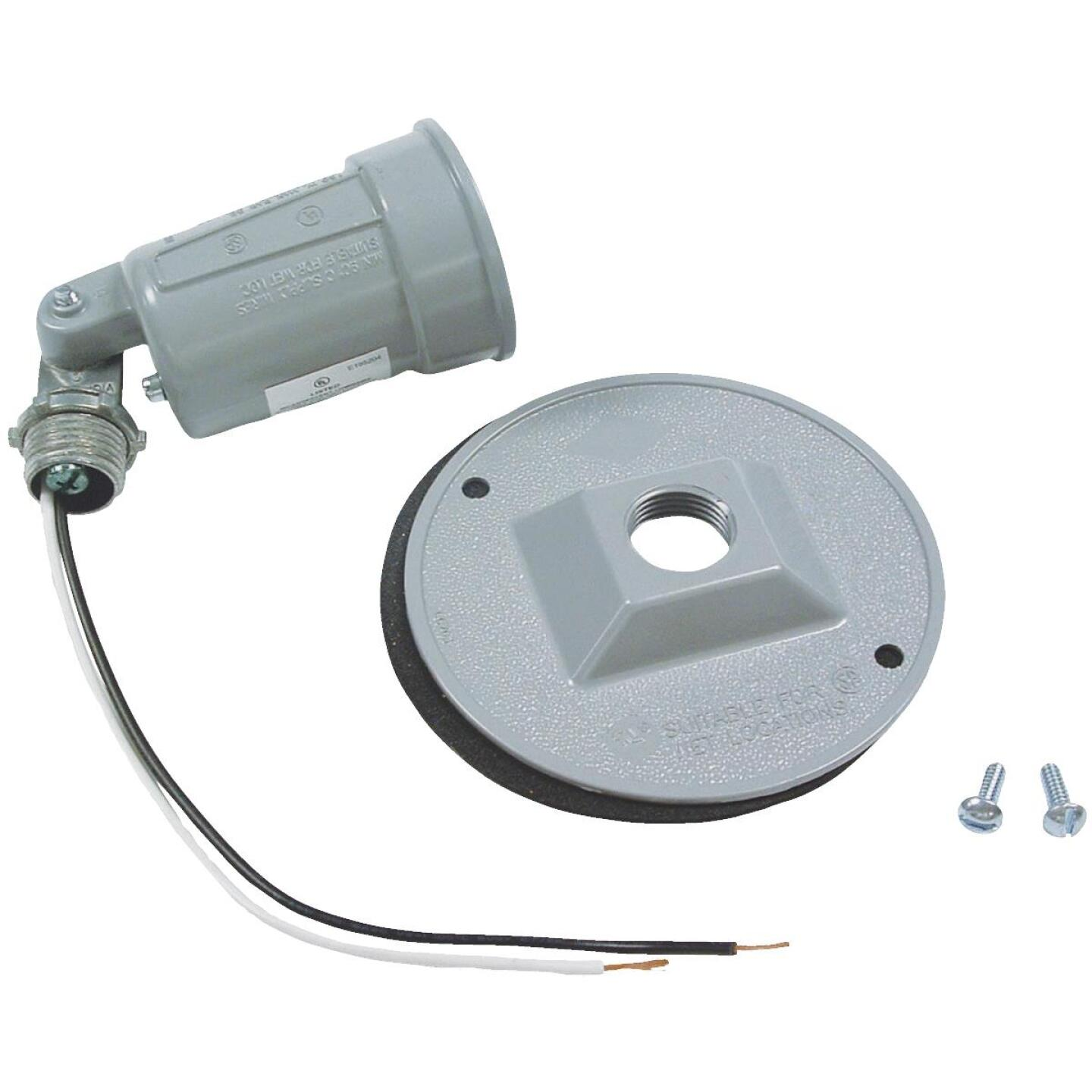 Bell 150W Aluminum Round Single Gray Weatherproof Outdoor Lampholder with Cover, Carded Image 1