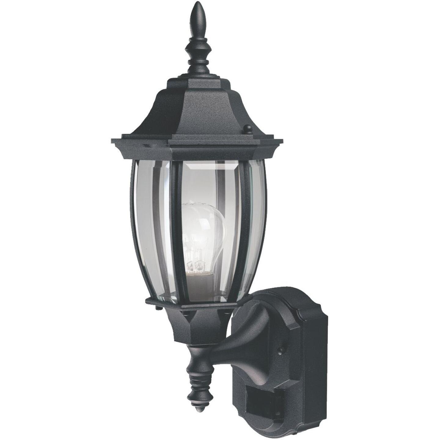 Heath Zenith Black Incandescent Dusk-To-Dawn/Motion Activated Outdoor Wall Light Fixture Image 1