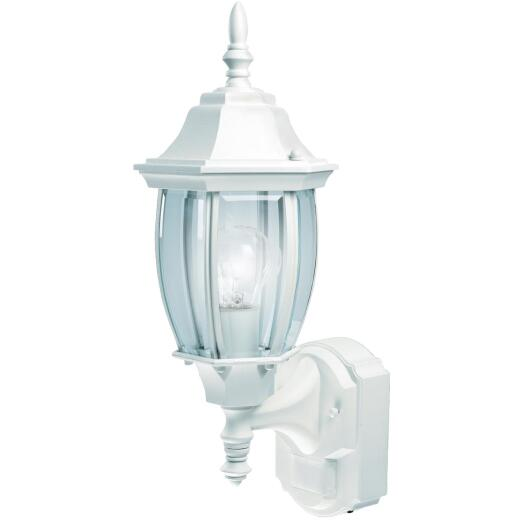 Heath Zenith White Incandescent Dusk-To-Dawn/Motion Activated Outdoor Wall Light Fixture