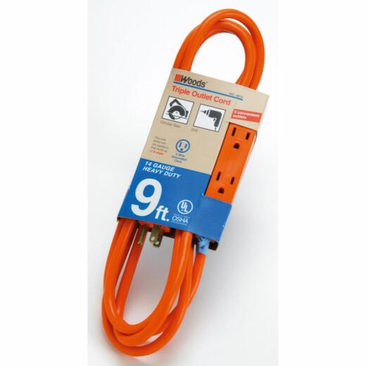 Woods 9 Ft. 14/3 Triple Outlet Extension Cord