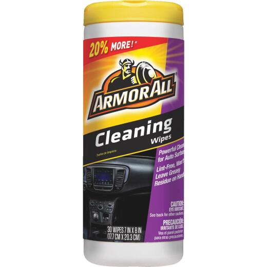 Armor All Unscented 7 In. x 8 In. Multi-Purpose Cleaning Wipes (30-Count)