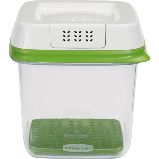 Rubbermaid FreshWorks Produce Saver 6.3 C. Clear Square Food Storage Container with Lid
