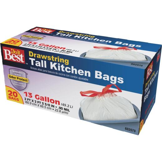 Do it Best 13 Gal. Lavender Scent Tall Kitchen White Trash Bag (20-Count)