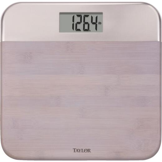 Taylor Digital 440 Lb. Bamboo/Metal Bath Scale, Gray