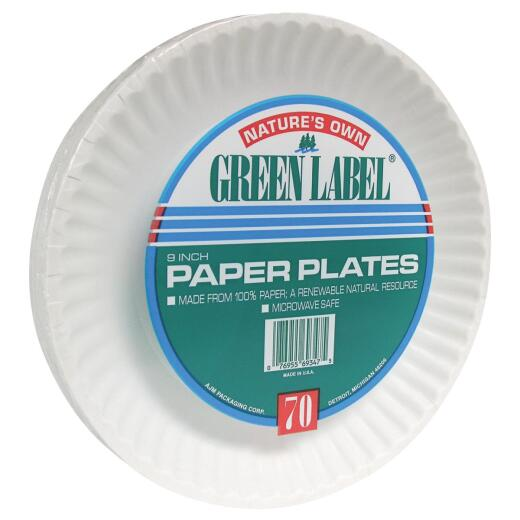 AJM Nature's Own Green Label 9 In. Paper Plates (70 Count)