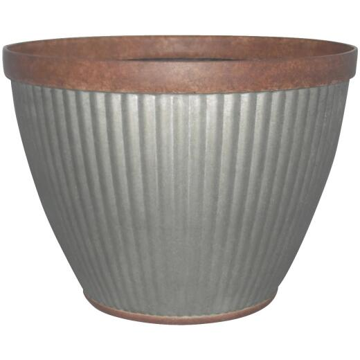 Southern Patio Westlake 15 In. x 11 In. Resin Rustic Galvanized Round Planter