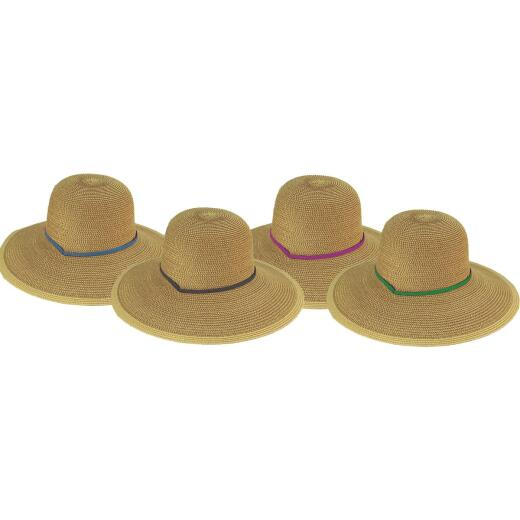 Midwest Quality Glove Women's Natural Straw with Assorted Ribbon Sun Hat
