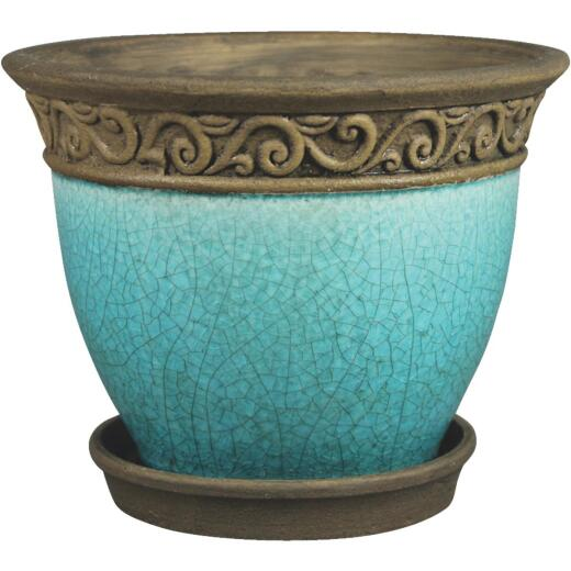 Southern Patio Cadiz 6 In. Dia. x 5.3 In. H. Teal Clay Planter