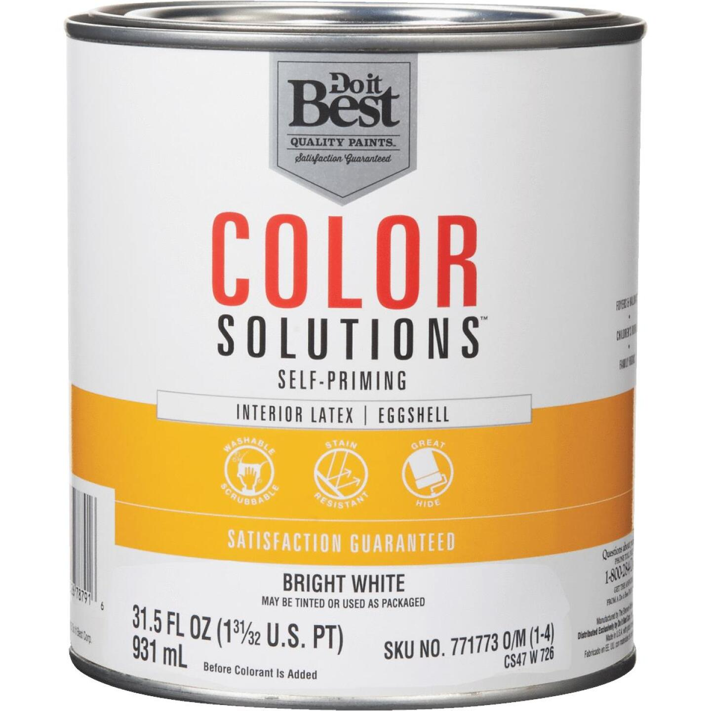 Do it Best Color Solutions Latex Self-Priming Eggshell Interior Wall Paint, Bright White, 1 Qt. Image 1