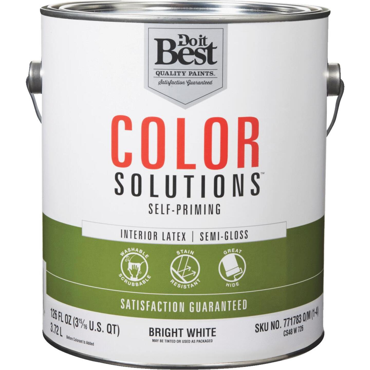 Do it Best Color Solutions Latex Self-Priming Semi-Gloss Interior Wall Paint, Bright White, 1 Gal. Image 1