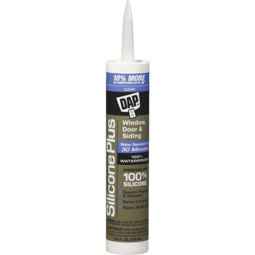DAP 10.8 Oz. Silicone Plus Premium Window Door & Siding Silicone Sealant, Clear