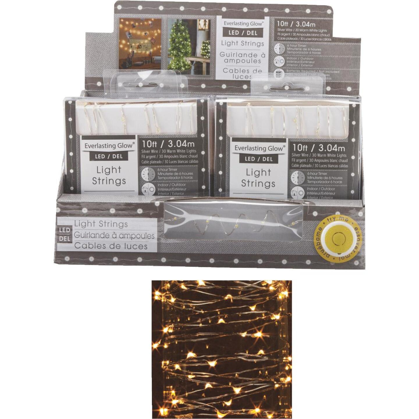 Everlasting Glow Warm White 30-Bulb Micro LED Battery Operated Light Set with Silver Wire Image 1