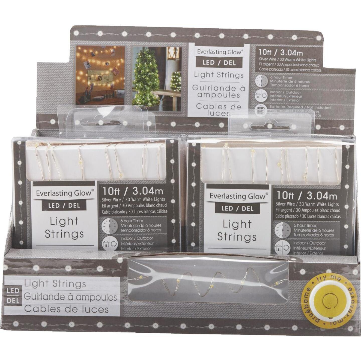 Everlasting Glow Warm White 30-Bulb Micro LED Battery Operated Light Set with Silver Wire Image 3