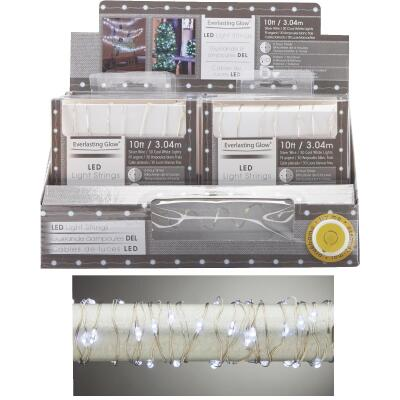 Everlasting Cool Warm White 30-Bulb Micro LED Battery Operated Light Set with Silver Wire
