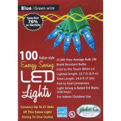 J Hofert Blue 100-Bulb Italian Style LED Light Set