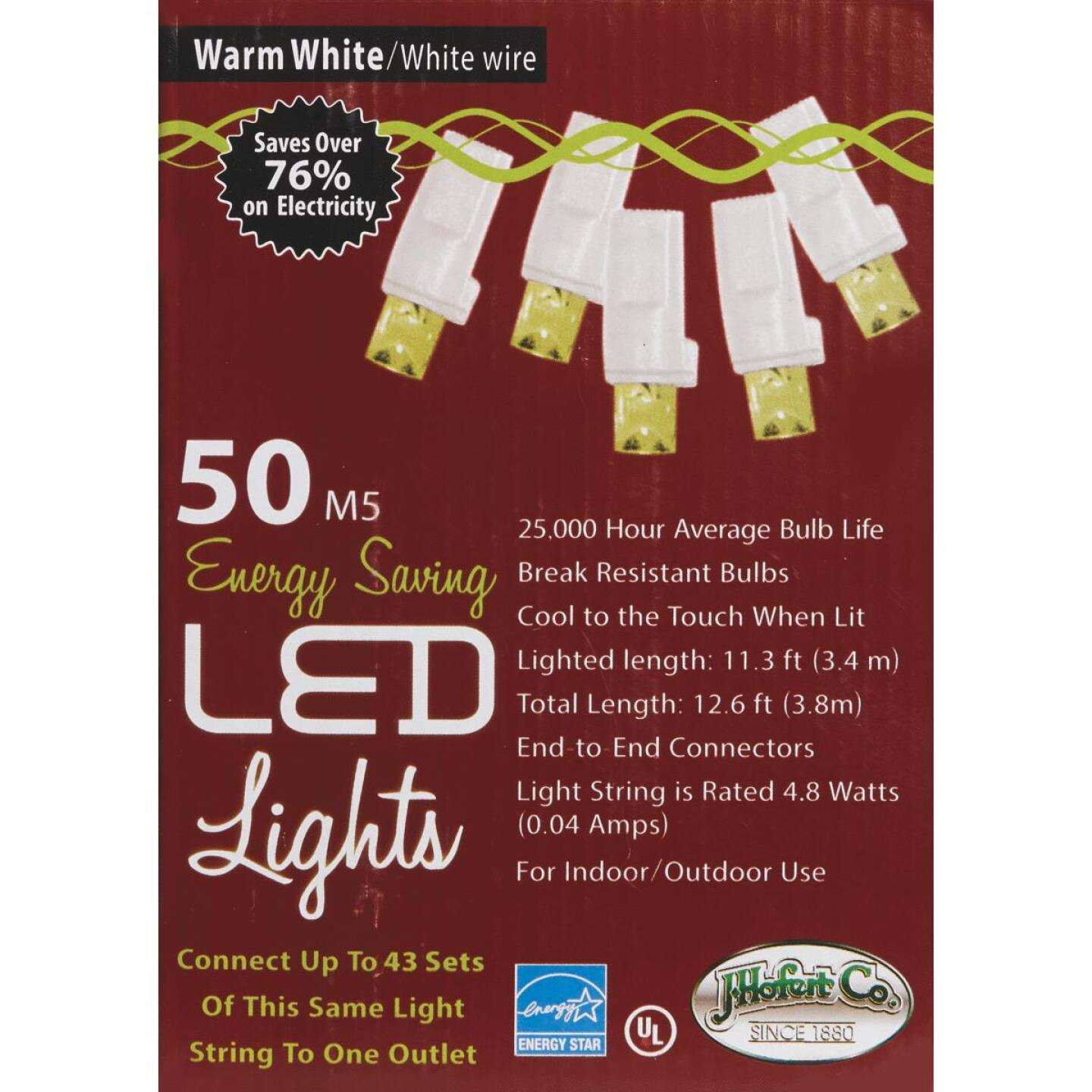 J Hofert Pure White 50-Bulb M5 LED Light Set with White Wire Image 2