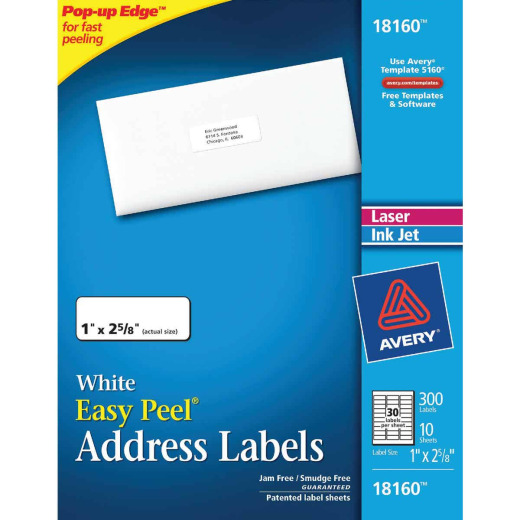 Avery Products Laser & Inkjet 1 In. x 2-5/8 In. White Mailing Labels (300-Pack)