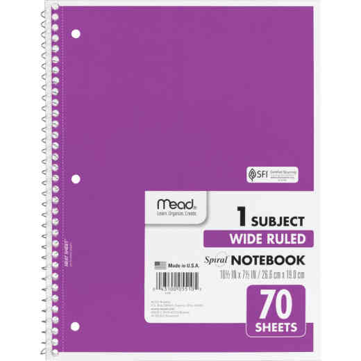 Mead 8 In. W. x 10-1/2 In. H. 70-Sheet Side-Spiral Notebook